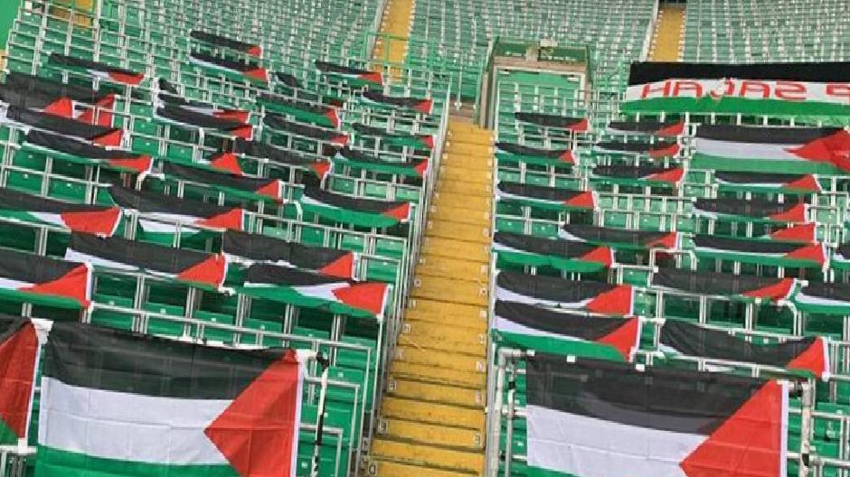 Celtic taraftarlarıdan Filistin bayraklarını kaldıran yönetime tepki